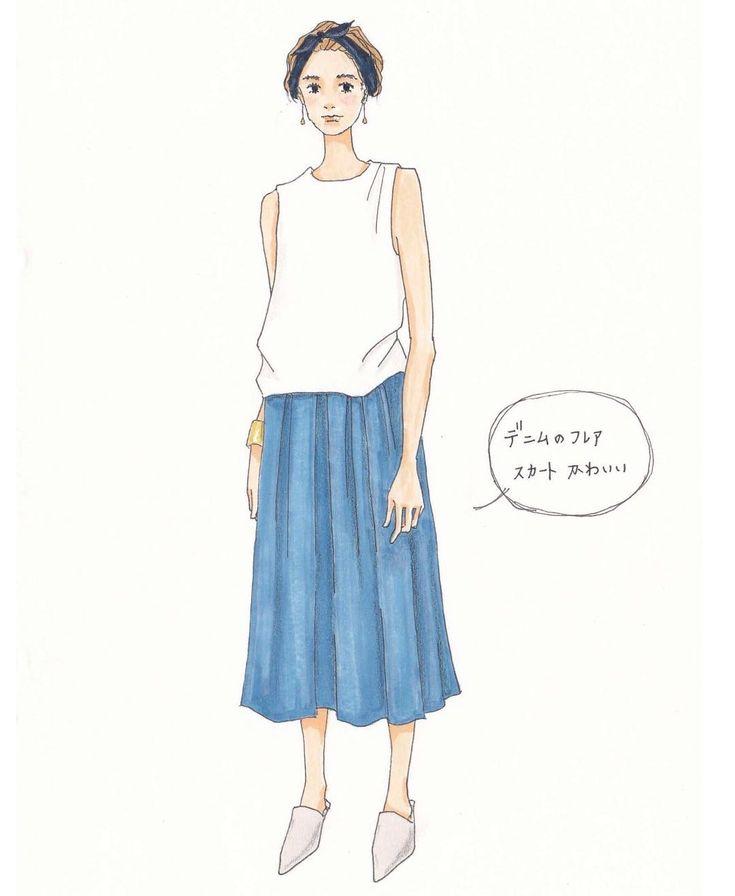 . 今日はノースリーブの人を見かけたので、イラストもノースリーブ女子✍️ . #ファッションイラスト#イラストレーション#アナログ絵#アート#手描き#コピック#ootd#シンプルコーデ#フレアスカート#デニム#ノースリーブ#バブーシュ#babouche#バングル#ショートヘア#ヘアバンド#ターバン#ピアス#アクセサリー#ナチュラル#メイク#draw#drawing#fashionillustration#denim