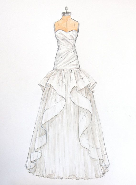 Custom Wedding Dress Sketch Of Jim Hjelm By ForeverYourDress 12500 Foreveryourdress