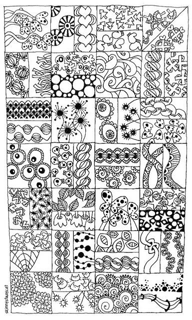 A Few of My Favorite Tangles Patterns. Ink on paper.A sampler of 49 doodle patterns that I like