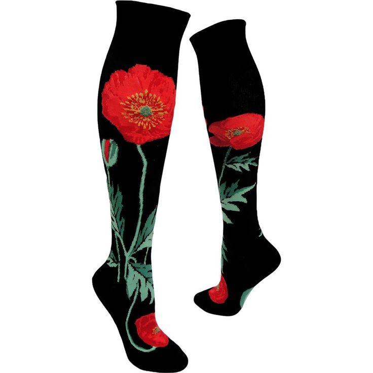 Black Bold Poppies Flower Socks - Knee High