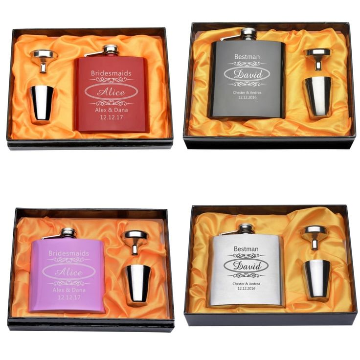 Set Of Personalized Engraved 6oz Hip Flask Stainless Steel Wedding Flask Set Gift Box Bride & Groom Usher Present Party Favor