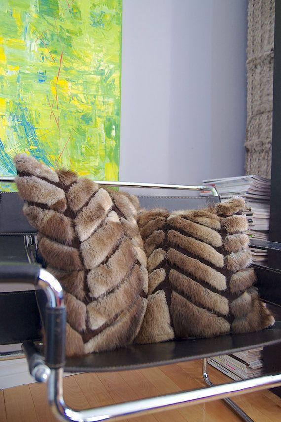 Handmade real recycle fur decorative cushion by LeBastard on Etsy