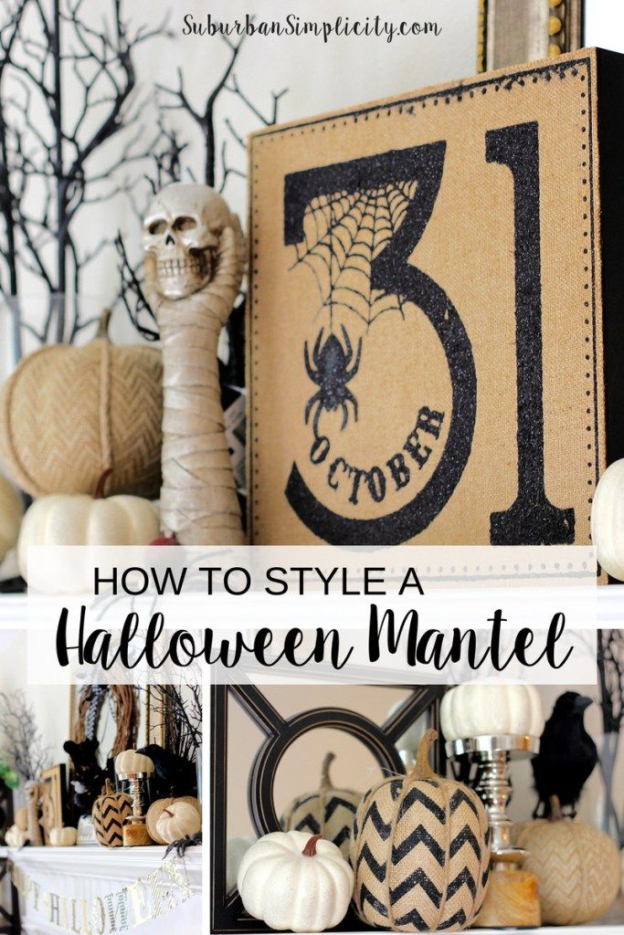 How to style a spooky good Halloween Mantel. These are simple Halloween Ideas you can totally do at your house with what you have on hand!