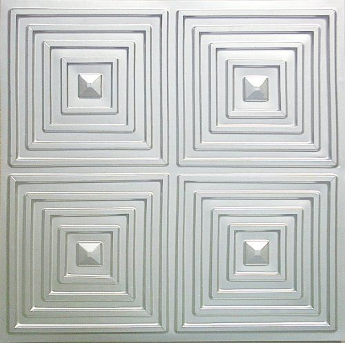 "Cheap Discounted Modern Plastic Ceiling Tile Nickel Silver Finish 125 P.v.c 24""x24"" Ul Rated.drop,suspended Ceiling.glue On,nail On,tape on Staple On! by Ceiling Tiles by Us, silver,modern tile,tiles. $8.39. Decorative Modern Ceiling Tiles Available in a variety of decorative finishes to complement any decor,eco - friendly.Recyclyble,green!. PVC Tin ceiling tile Installs over existing ceiling surfaces (i.e. popcorn)Suspended ceiling,drop ceiling panels.,grid tile.. Looks like..."