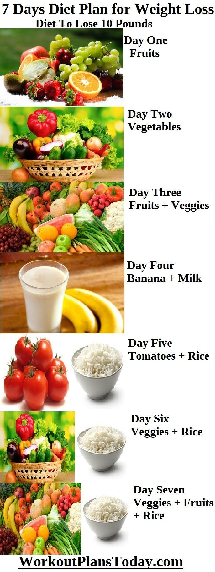 7 Days Diet Plan For Weight Loss  Diet To Lose 10 Pounds Day