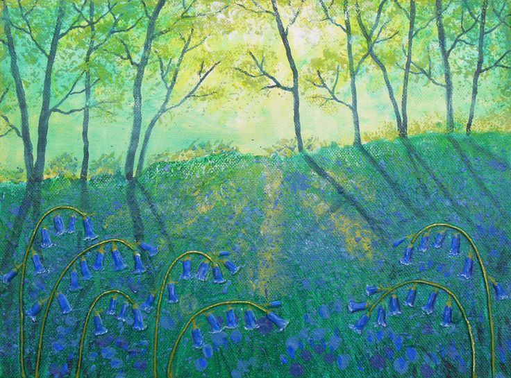 Bluebell Glade - mixed media on a 12 x 9 inch box canvas (original sold)