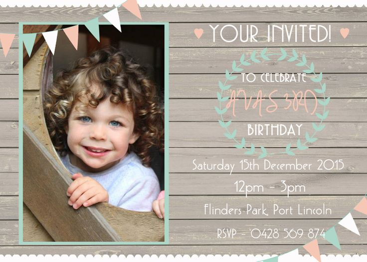 Girls Birthday Party Invitation, Vintage, Rustic, Personalized Digital Print, Print Yourself! by LittleFeetInvites on Etsy
