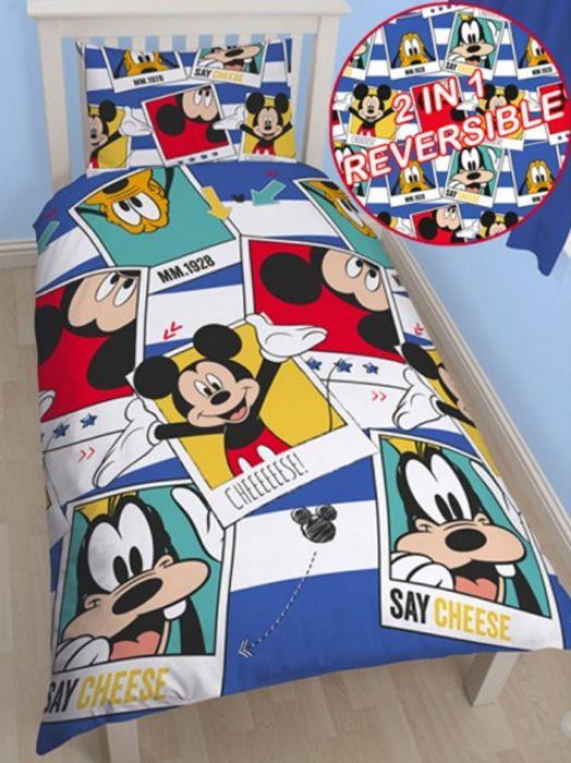 """Παπλωματοθηκη Μικυ Μαους - Mickey Mouse Παιδικη Σετ Μονη Aναστρεψιμη """"Polaroid"""" - memoirs.gr"""