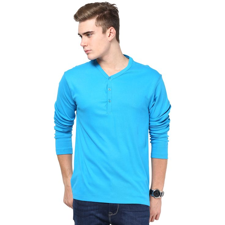 MUDO Solid Royal Blue Henley T-shirt for men