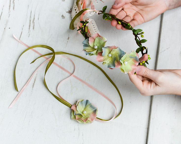Flower hair headband, Spring tiara green Pearl flower crown, Fairy flower crown, Floral fascinator Rose wedding crown, Bridesmaid flower set by IvaCreationsBoutique on Etsy