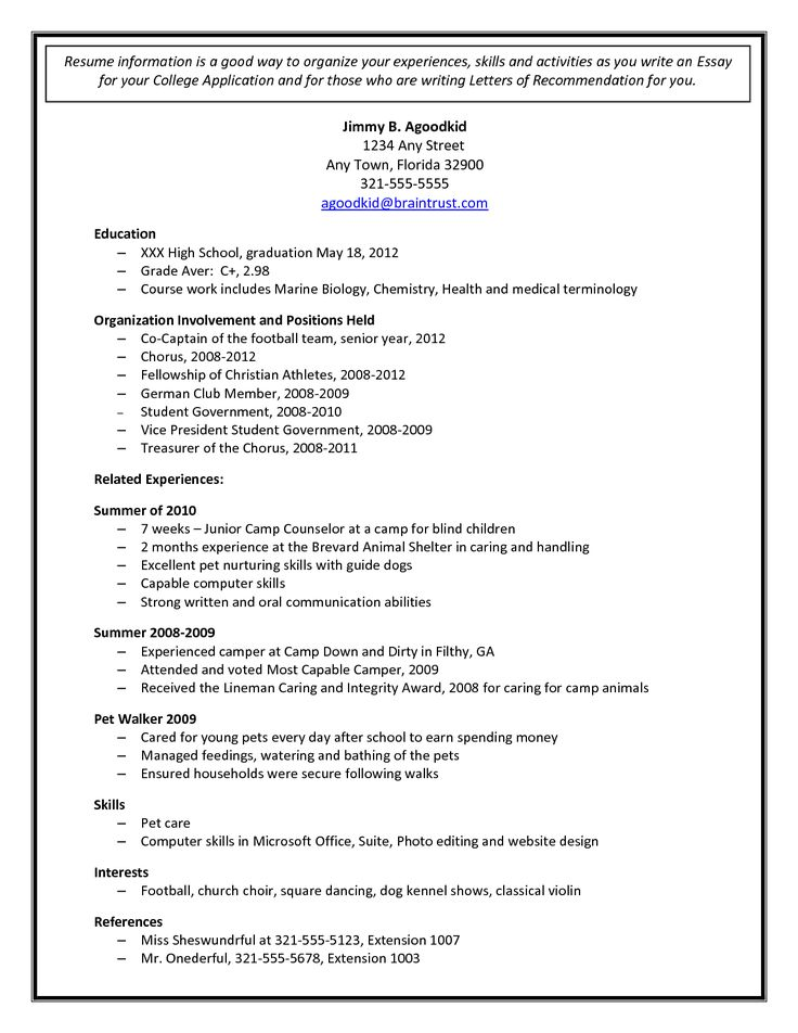 Resume for high school students for college admission