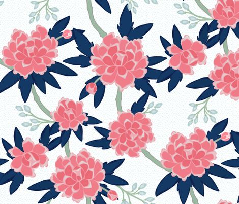 "Paeonia in Pink and Navy fabric by willowlanetextiles on Spoonflower - custom fabric 21""x18"" $10.50"