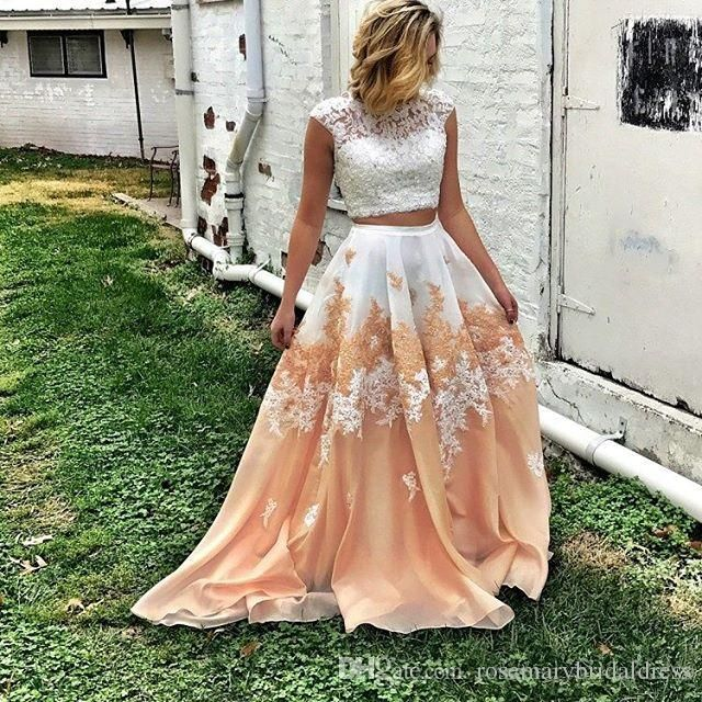 Two Pieces Long Prom Dresses Lace Charming Jewel Elegant Special Occasion Gowns Ivory And Brown Evening Dresses 2018 Vestidos De Festa Prom Dresses Party Dresses Evening Dresses Online with $147.43/Piece on Rosemarybridaldress's Store | DHgate.com