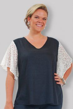 V-Neck with Brocade Lace Sleeve