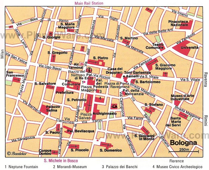 Bologna Map - Tourist Attractions