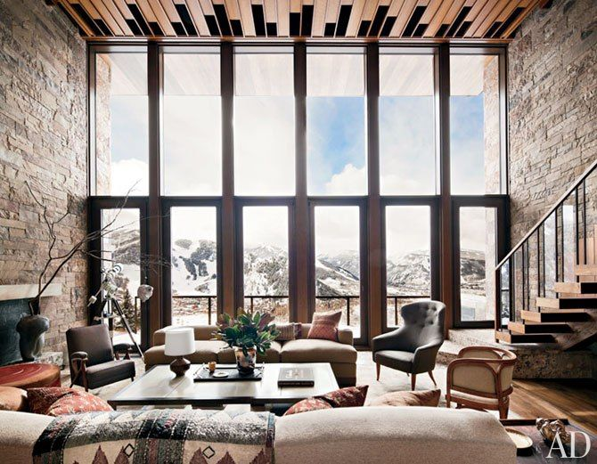 Stunning Aspen dream home with a wall of double-height glass overlooking the slopes. So perfect I might have trouble clipping into my skis & leaving for even the day. Might.