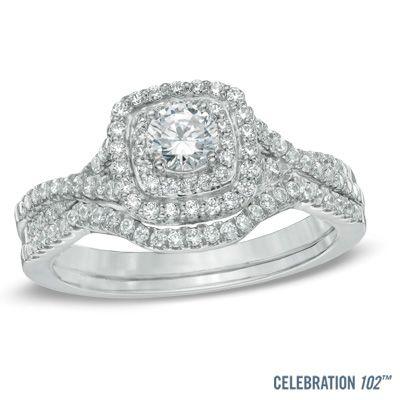 Celebration 102® 3/4 CT. T.W. Diamond Double Frame Bridal Set in 18K White Gold (I/SI2)