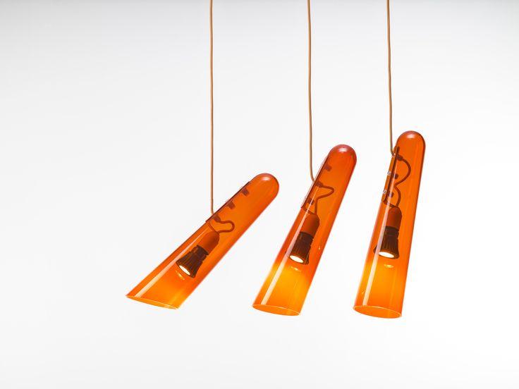 Brokis - light - handmade - bohemian glass - interior. Flutes orange design by Lucie Koldova.