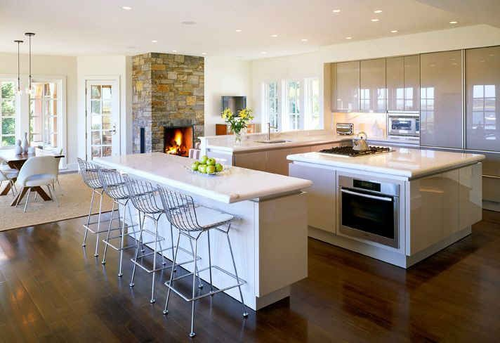 Modern Kitchen With Stone Fireplace Fireplaces Pinterest