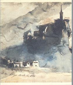 Drawing by Victor Hugo, 1866. Ink and wash. From I Disegni di Victor Hugo, Edizioni ALFA Bologna, 1983.