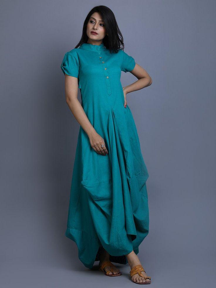 Turquoise Cotton Linen Cowl Dress