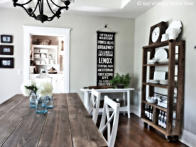 Table and shelves