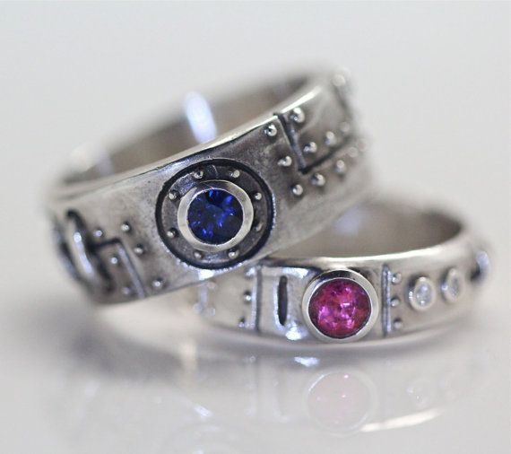 Steampunk wedding ring set sterling silver diamond blue sapphire and pink tourmaline settings with engraving FB on Etsy, $430.00