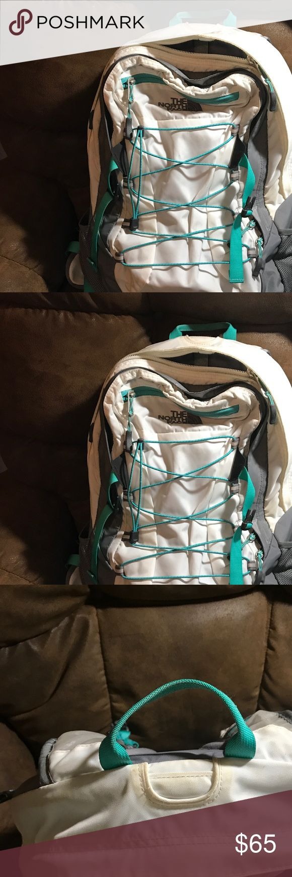 North Face Backpack! Has been used and loved! Used for a year in school.  Has some discoloration around zipper and small hold in side pocket from pencil. North Face Bags Backpacks
