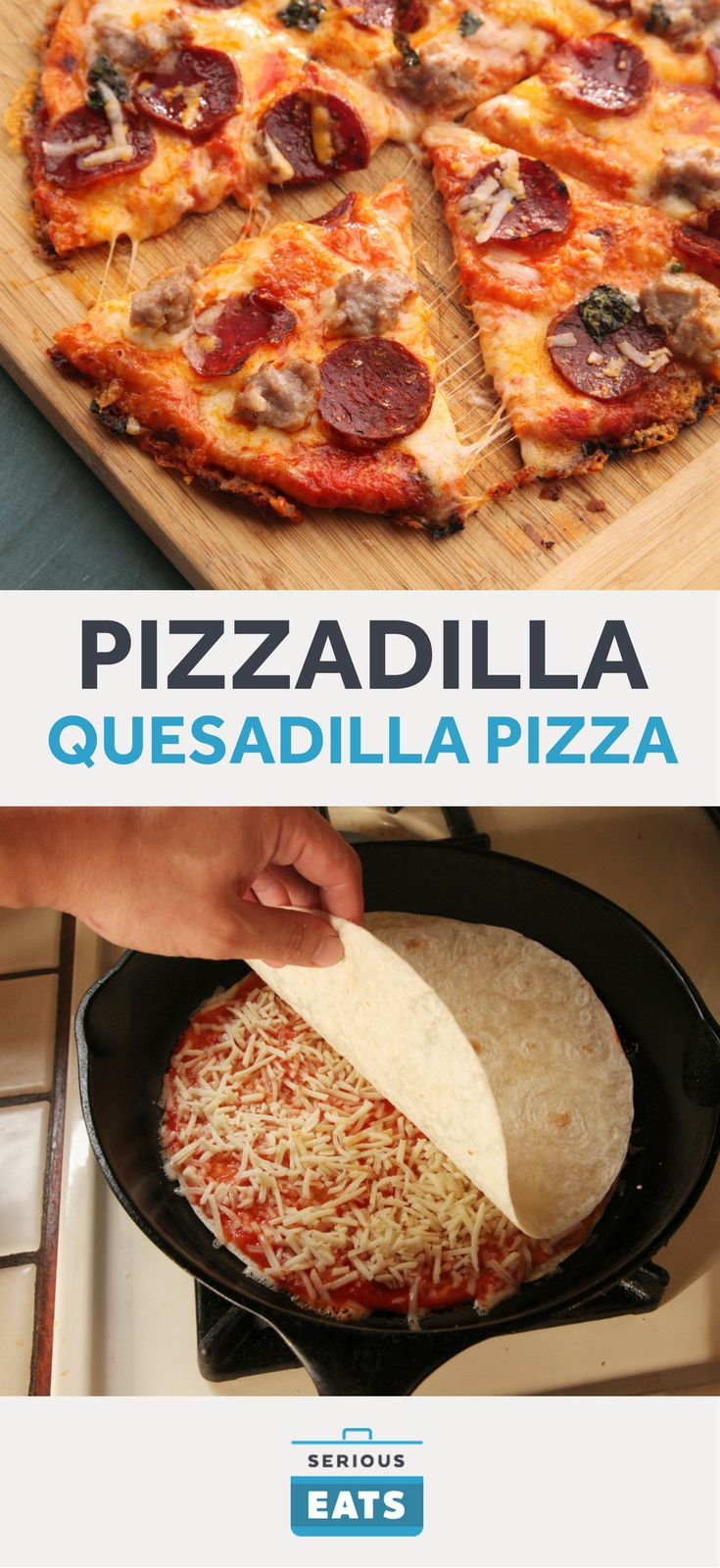 A crispy cheese-stuffed quesadilla forms the base for a quick cast iron-baked pizza.