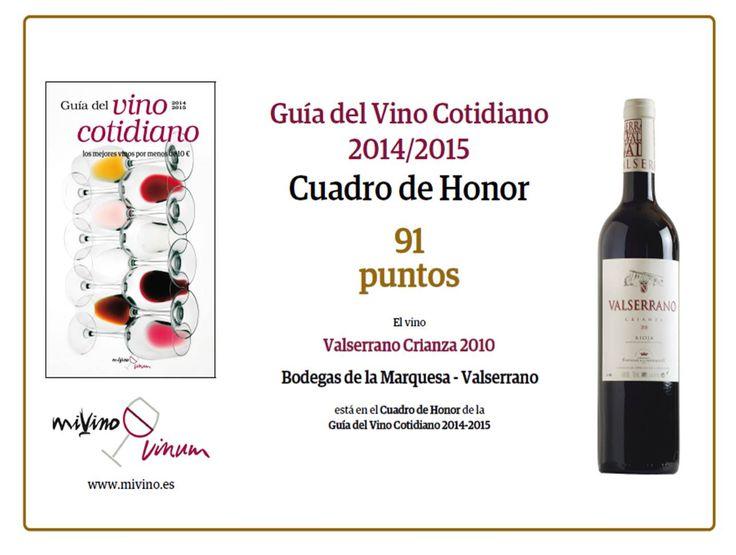 Valserrano Crianza 2010 in the Honor Roll of the del Vino Cotidiano Guide 2014-2015