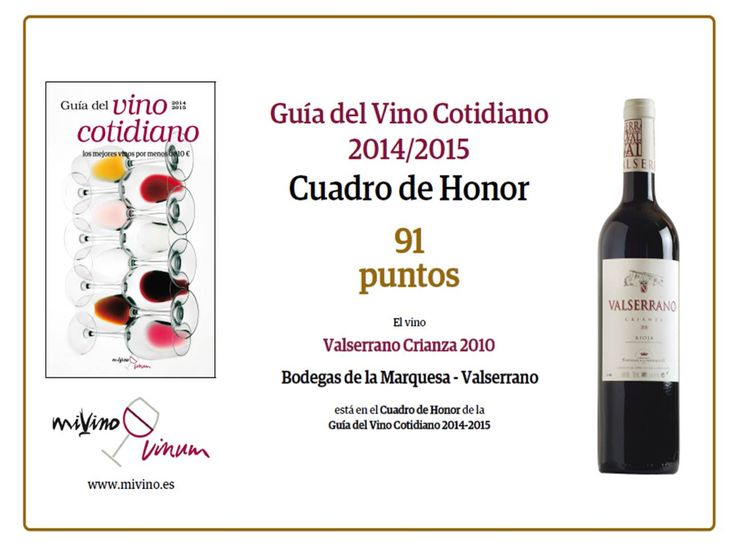 Valserrano Crianza 2010 in the Honor Roll of the del Vino Cotidiano Guide 2014-2015