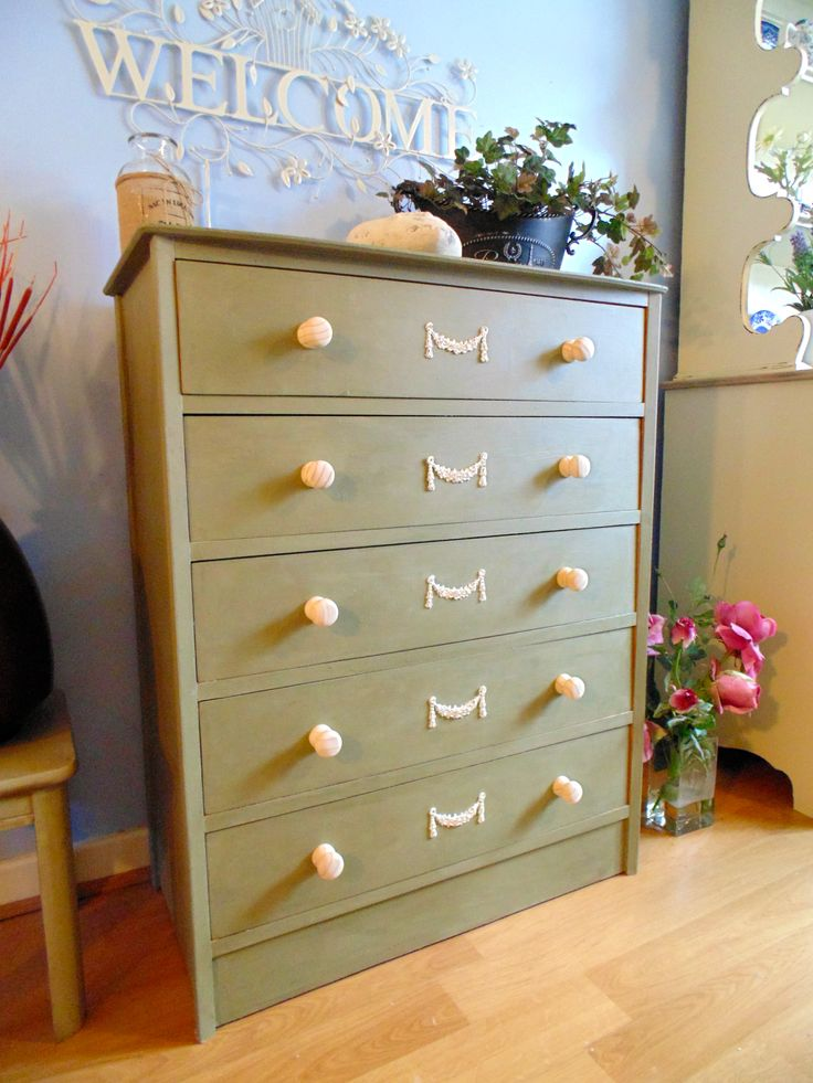 Lovely Plain Chest of Drawers Transformed with Annie Sloan Chateau Grey &  some new Mouldings and · Shabby Chic FurnitureVintage ... - 14 Best Chic Mouldings Chest Of Drawers Makeovers Images On