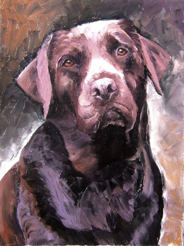 - URFEE » Labrador chocolat - peinture à l'huile au couteau réalisée en novembre 2007 sur toile coton 30x40cm.