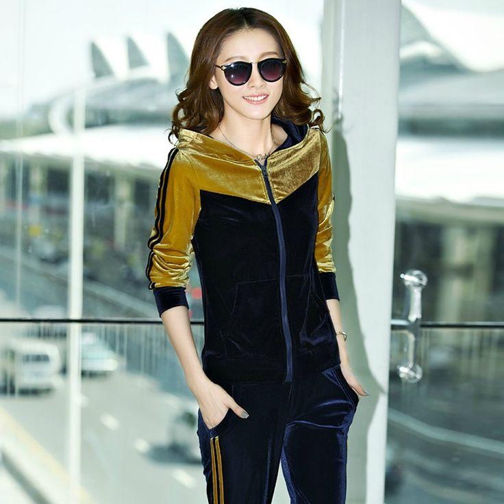 Primavera y otoño versión coreana hembra principios del otoño traje casual nuevo oro terciopelo terciopelo sudaderas de las mujeres suéter chaqueta de manga larga