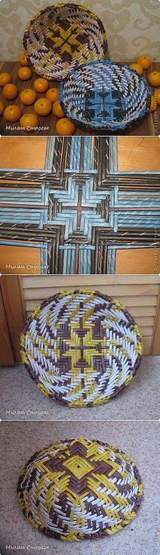 Газетное плетение - тарелки   Страна Мастеров