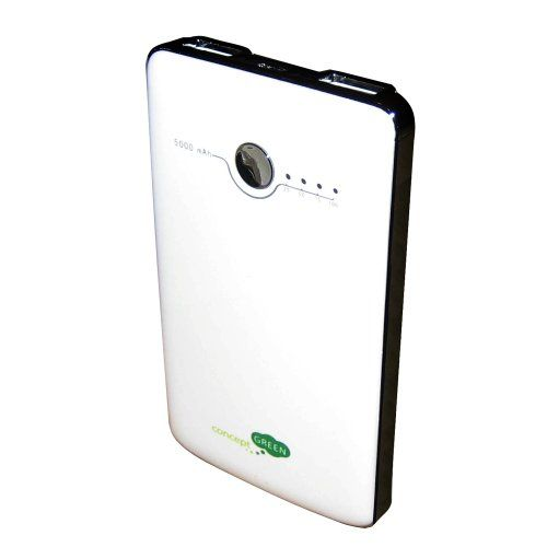 Concept Green Battery Portable Charger - 5000mAh - Dual USB - White Home Decor/Home/office/Portable Chargers,camping. ITEMID: 013964499445. Ship to US only. Product by: Concept Green.  #ConceptGreen #Sports