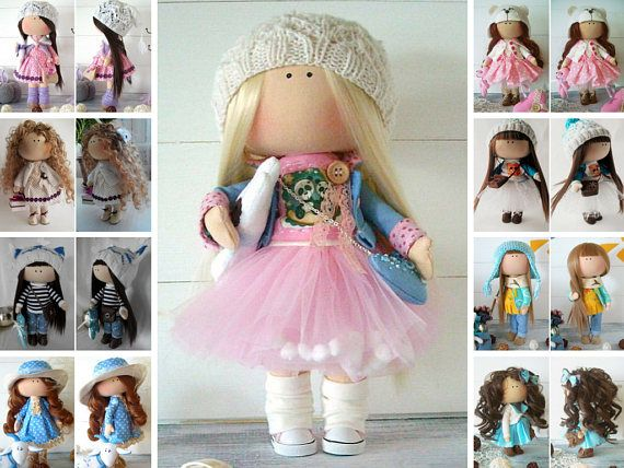 Handmade doll Fabric doll Cloth doll Muñecas Baby doll Textile doll Tilda doll Pink doll doll Soft doll Collection doll Rag doll by Olga Gn