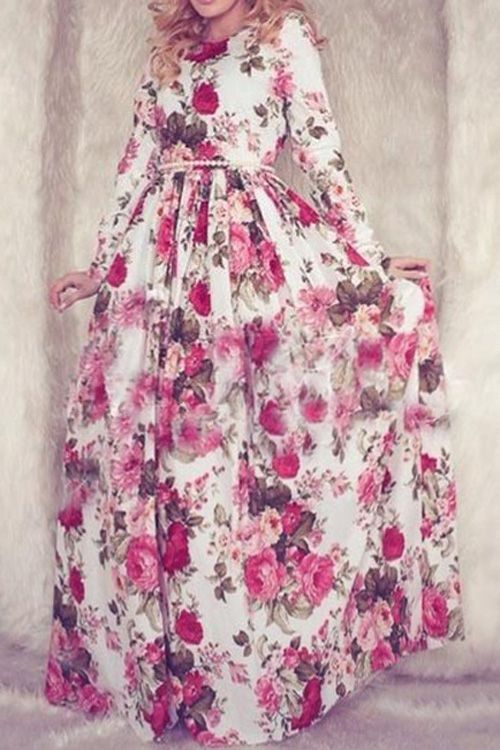 Oh no!! We can't go back to the 80's! All this pic needs is a little girl standing next to her in the exact same dress. Flower Print Long Sleeve Maxi Dress