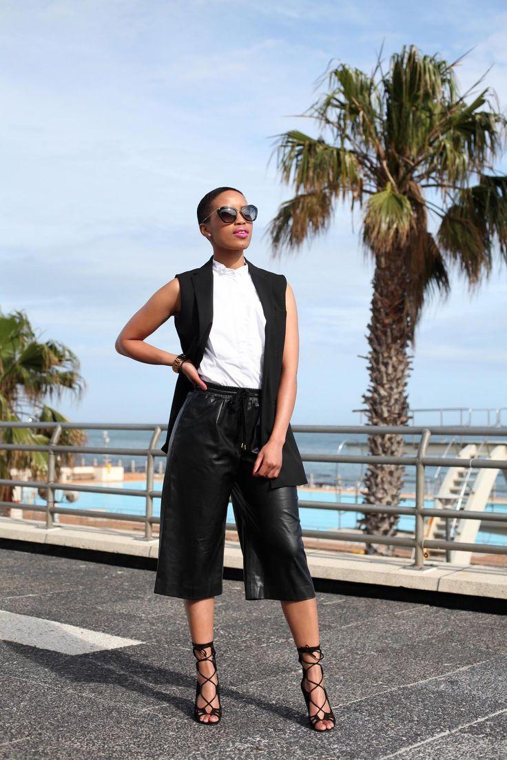 Leather Culottes: Shirt - H&M, Sleeveless Blazer - ZARA, Leather Culottes - Country Road, Sandals - Windsor Smith, Sunglasses - Miu Miu #H&M #ZARA #CountryRoad #WindsorSmith #MiuMiu