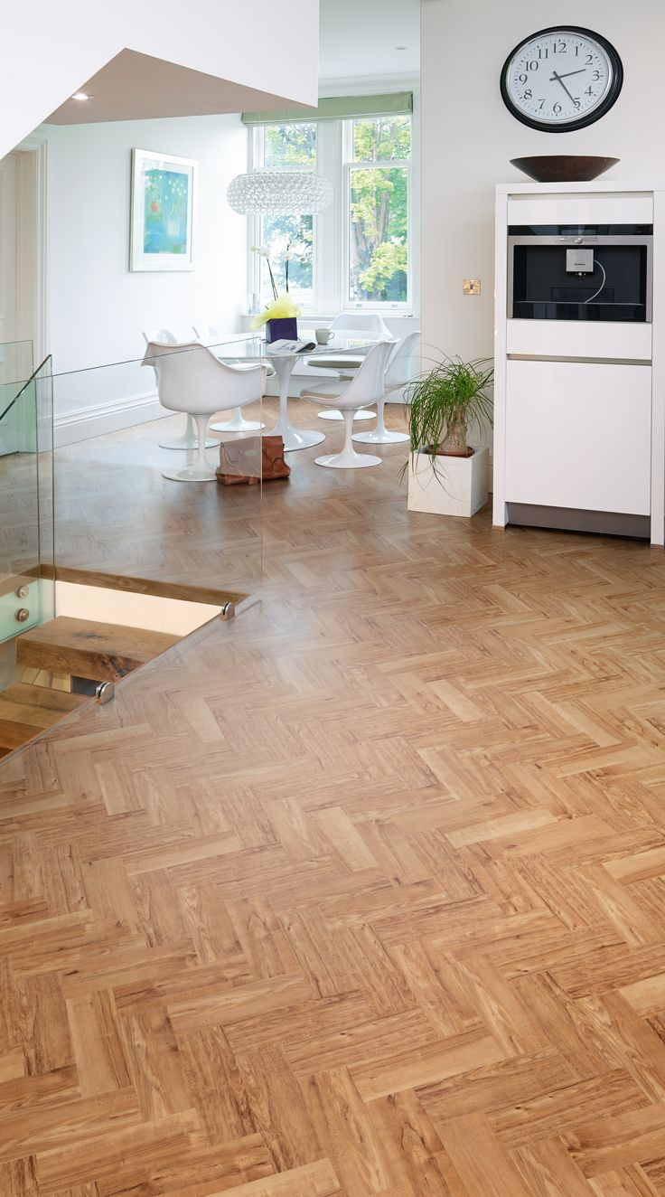 Herringbone Wood Floor Kitchen