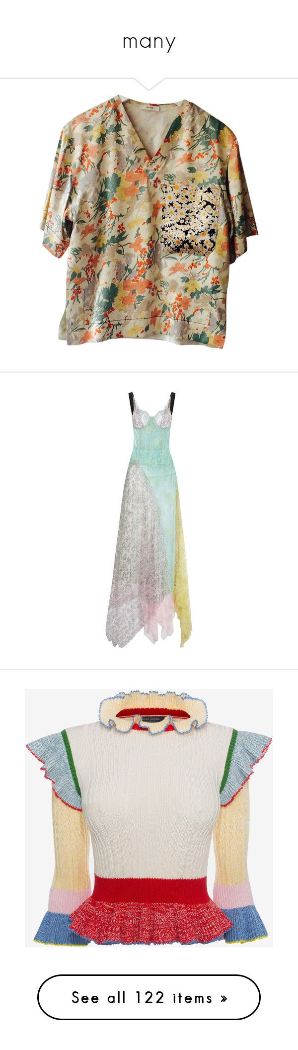 """""""many"""" by yoh-tropic ❤ liked on Polyvore featuring tops, other, women clothing tops, celine top, silk tank, silk top, celine tank, silk tank tops, dresses and gowns"""
