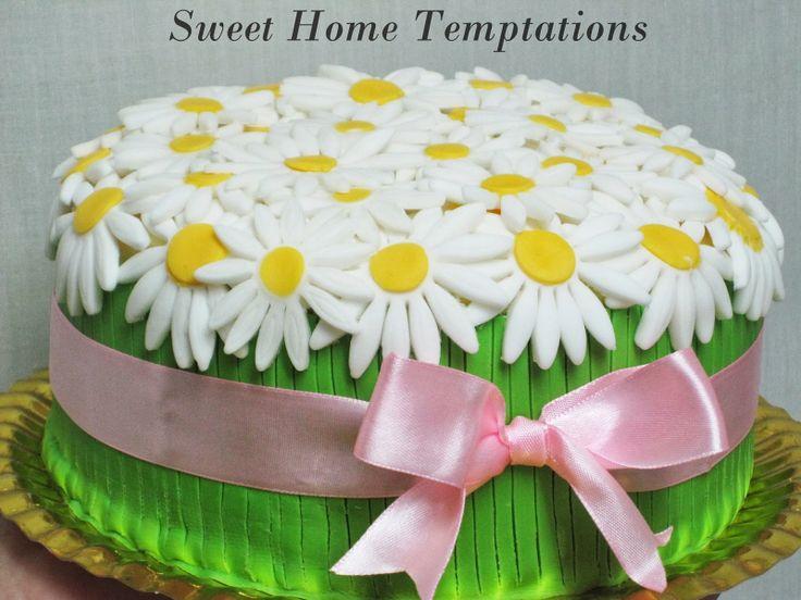 Sweet Home Temptations: Tarta de margaritas (Daisy cake) y algunos consejo...