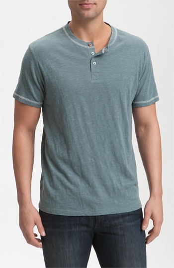 Threads of Thought Slubbed Short Sleeve Henley in Stone Green/Ecru