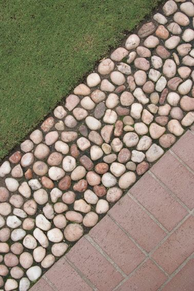 Image result for cobbles sunk into cement
