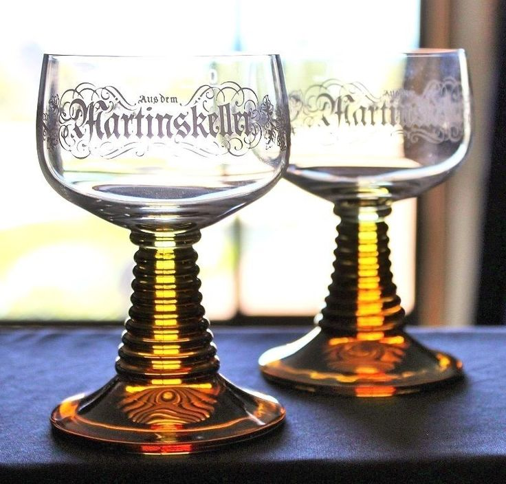 French Luminarc Wine Glasses Amber Ribbed Base With Grape Decal Martinskeller