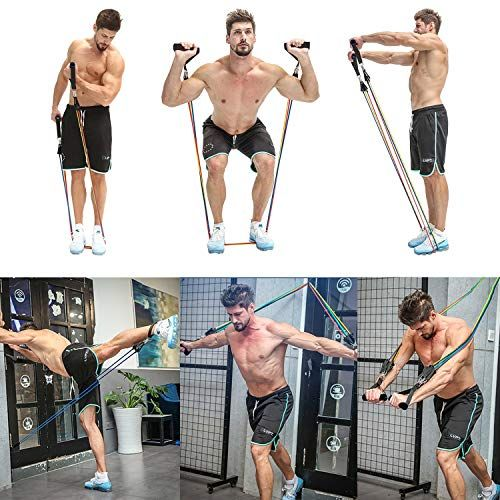 Amazon Com Whatafit Resistance Bands Set 11pcs Exercise Bands With Door Anchor Handles Waterproof Carry Bag Band Workout Full Body Workout Fitness Body