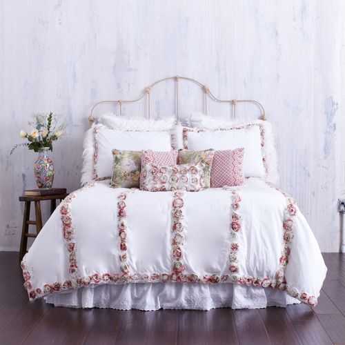 white duvet cover with colorful rosettes u0026 feather trim