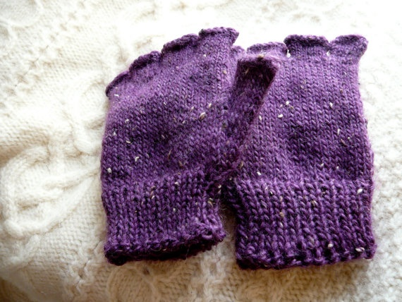 Hand Knit Fingerless Gloves Tweed Purple by FreshSqueezedLymeAid, $35.00