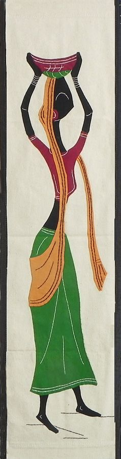 Vilage Woman Carrying a Basket- (Wall Hanging) (Applique Work on  Cotton Cloth)