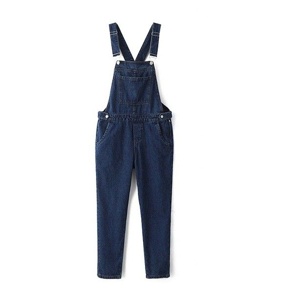Overall Long Plain Skinny Zip Side Jeans ($28) ❤ liked on Polyvore featuring jeans, blue bib overalls, overall jeans, blue jeans, zipper jeans and long length jeans